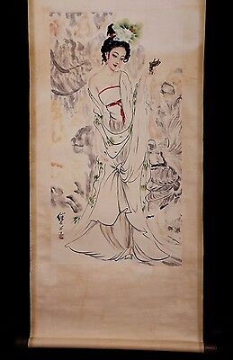 Unique Vintage Chinese Handwork Figure Scroll Painting Collectible Mark KK380