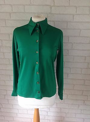 Vintage 1960's Marks and Spencer Bright Green Polyester Shirt Blouse Size 12 Mod