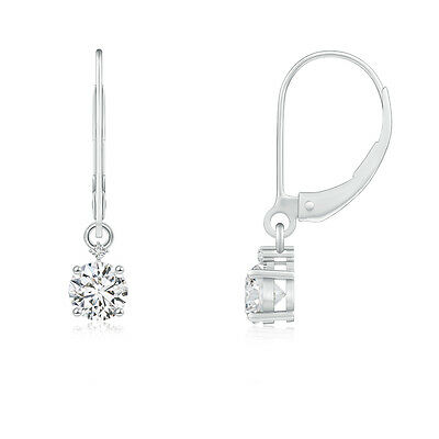 Natural Round Diamond Leverback Drop/Dangle Earrings 14k White Gold Platinum