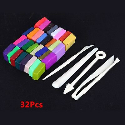 32 Colors Polymer Clay Oven Bake Modelling Moulding Fimo Sculpey DIY Tool set
