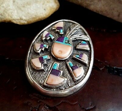 Scarce Vtg ERVIN HOSKIE Navajo Heavy Sterling Multi-Stone Inlay Pin DROP PENDANT