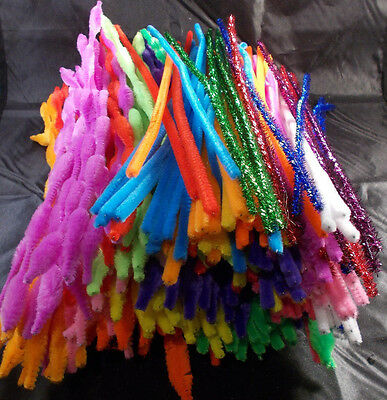250 Assorted 30cm Chenille Stems / Pipe Cleaners - Bump, Plain & Glitter
