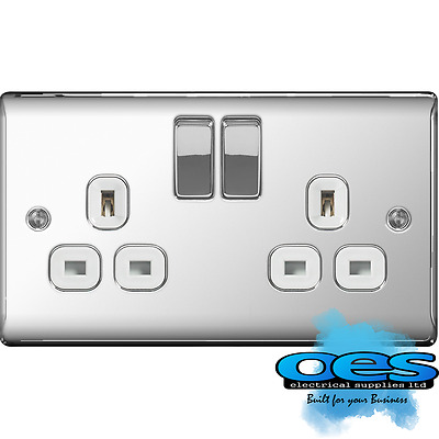 BG Nexus NPC22W Polished/Mirror Chrome 13Amp Double Plug Socket 2 Gang