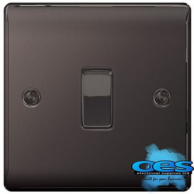 BG Nexus NBN12 Polished/Black Nickel Single Light Switch 1 Gang 2 Way