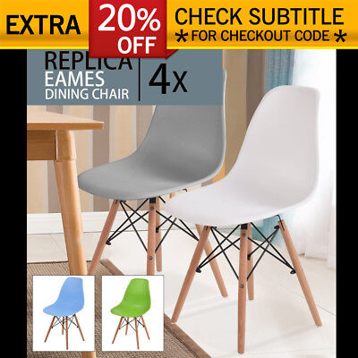 4x Retro Replica Eames Dining Chair DSW Cafe Effiels ABS Armchair Beech Kitchen