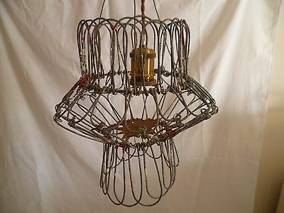 Vintage Rustic Wire Basket Plant Hanging Light Shade Handcrafted Retro Lamp #3