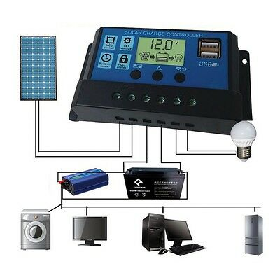 10/20/30A 12/24V PWM Dual USB Solar Panel Battery Regulator Charge Controller