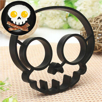 Silicone Skull Shape Egg Fried Mould Molds Shaper Poucher Pancake Rings Cool