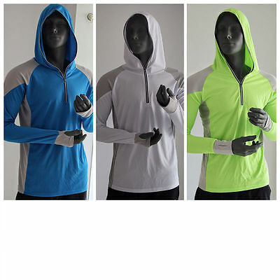 Mens UV Sun Protection Long Sleeve Skins Tee Quick Dry Hooded Top Shirts Sports