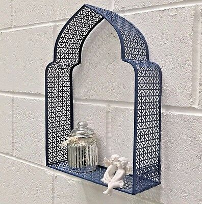 Blue Moroccan Wall Frame Metal Shelf Display Storage Shabby Chic Vintage Style
