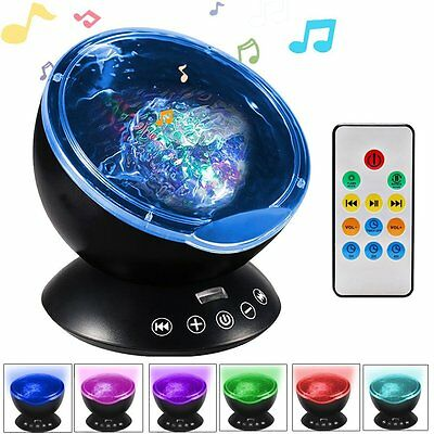 Nursery Cot Mobile Baby Nightlight Projector Ocean Wave LED Lamp w/ Music Remote