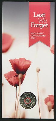 Australia 2015 $2 Lest We Forget Poppy Counterstamp Coin