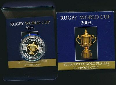 Australia 2003 $5 1oz Silver Proof Gold plated Rugby World Cup Cat $90