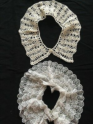 Lot Of Two Vintage Collars Lace And Crocheted