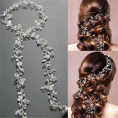Pearls Wedding Hair Vine Crystal Bridal Accessories Diamante Headband 1 Piece