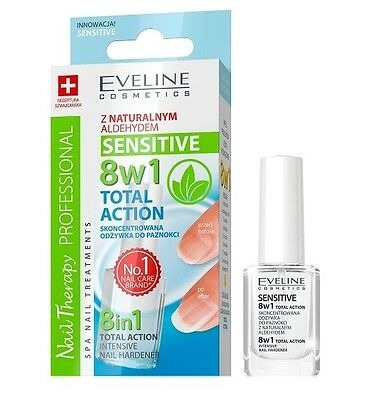 EVELINE  8in1 TOTAL ACTION SENSITIVE NAIL CONDITIONER 12ml natural aldehyde 8w1