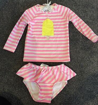 Country Road Pink & White Striped 2 Piece Swimsuit for 18-24 Months