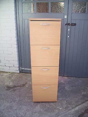 Wooden 4 Drawer Beech Foolscap & A4  Filing Storage Cabinet - Used