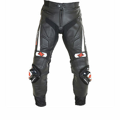 Oxford RP-S Leather Motorcycle Motorbike Armoured Sports Trousers - Black 38