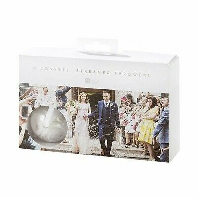 6 White Wedding Confetti Streamer Throwers by Talking Tables