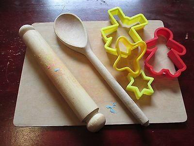 Vintage Children's Plasticene Baking Set - Rolling Pin,Spoon, Board Cutters