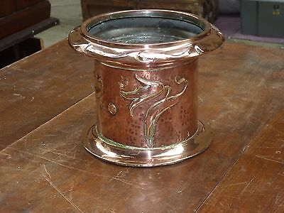 Antique Arts And Crafts Copper Jardiniere With Tulips,from Steam Engine Chimney