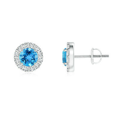 Natural Round Blue Topaz Diamond Halo Stud Earrings in 14k White Gold Platinum