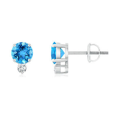 Natural Round Cut Blue Topaz Stud Earrings with Diamond 14k White Gold Screwback
