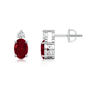 Natural Oval Garnet Stud Earrings with Diamond in 14k White Gold Platinum