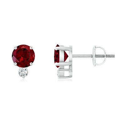 Natural Round Garnet Stud Earrings with Diamond 14k White Gold Screw Back