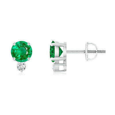 Natural Round Emerald with Diamond Solitaire Stud Earrings in 14k White Gold