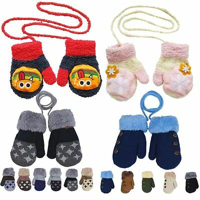 Winter Full Finger Mittens Baby Knitted Gloves Cotton With Rope for 0-12 Month