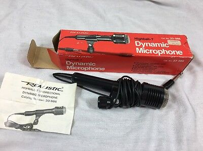 Vtg Realistic Highball 7 Dynamic Microphone 33-986 w/Box