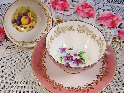 Aynsley  & Orchard Fruit Pink 2 Tea Cups And Saucer