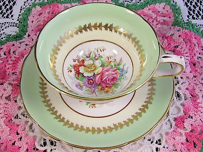 Grosvenor Light Green Floral Spray Tea Cup And Saucer