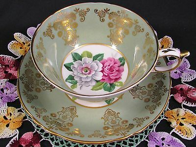Paragon Sage Green Fancy Gold Designs Floral Tea Cup And Saucer