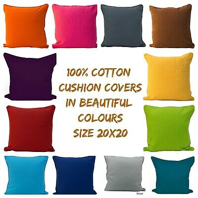 "Plain Dyed Cushion Covers - Size 20""x 20"" - BEST QUALITY 100% Cotton"