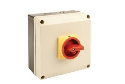80A 4 Pole Ip65 Enclosed Lockable Emergency Rotary Isolator