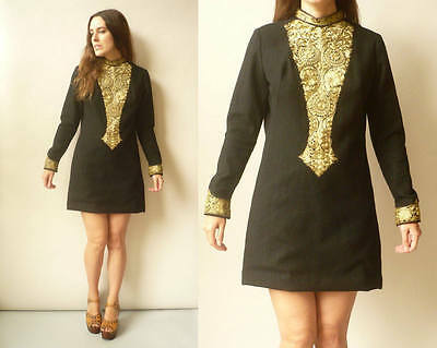 1970's Vintage Indian Hippie Wool Gold Embroidered Mini Dress Size Medium