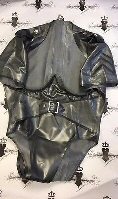 R1017 Rubber Latex Military Style LEOTARD Pew/Blk 16 UK Westward Bound SECONDS