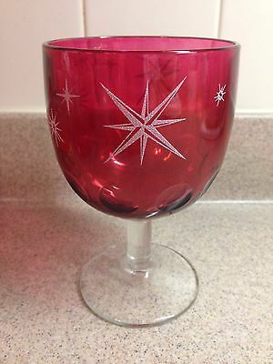 Vintage Large Ruby Red Stained Glass Stars Thumbprint Goblet W/Clear Pedestal