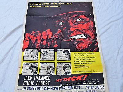 Attack original one sheet poster 27 x 41 inch jack palance folded rare poster
