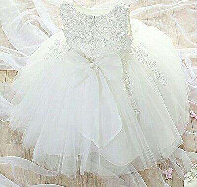 Baby girl Christening Dress Gown Bridesmaid Flower Girl Pageant Wedding 0-7yrs