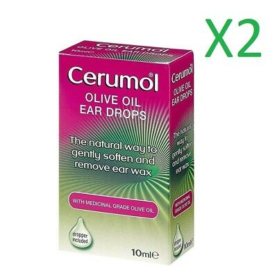 2x Cerumol Olive Oil Ear Drops 10ml medical grade 100% olive oil with dropper