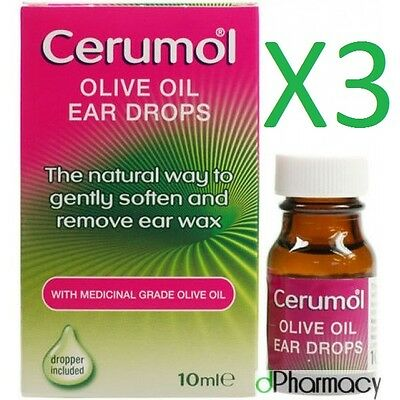 3x Cerumol Olive Oil Ear Drops 10ml medical grade 100% olive oil with dropper