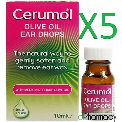 5x Cerumol Olive Oil Ear Drops 10ml medical grade 100% olive oil with dropper