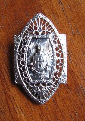VINTAGE Sigma Chi Fraternity Crest Sweetheart  Filigree Dress Clip Estate Find