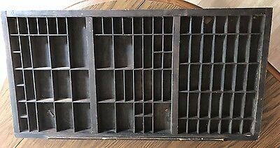 "Antique type set tray 32.5"" x 16.5"" letter drawer shadow box vintage"