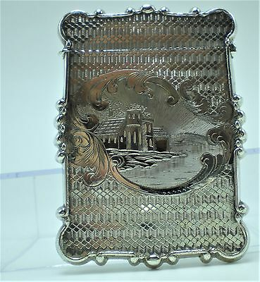 Antique Sterling Silver Etched Castle Card Case