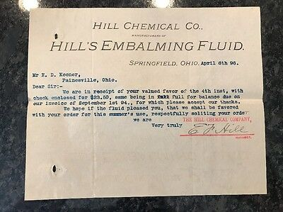 1800's Hill's Chemical Embalming Fluid Co Springfield Ohio Coffin Casket Funeral